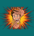 scared man covered with hands vector image vector image