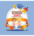 school supplies boy girl character kids education vector image vector image