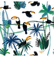 seamless pattern with toucan birds in jungle vector image vector image