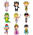 set of boys and girls in disguise vector image vector image