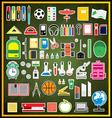 Set of school supplies on green chalk board vector image