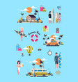 set summer vacation surf bus sunset tropical beach vector image vector image