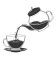 silhouette pour coffee drink from glass teapot vector image