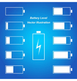Simple blue battery level vector image vector image