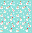 snowflakes and snowman seamless pattern winter vector image vector image