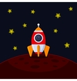 space rocket landing on mars vector image vector image