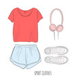 sportswear outfit hand-drawn sketch with sport vector image vector image