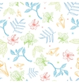 Tropical Pastel Drawing Flowers Seamless vector image vector image