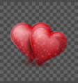 two red glass or crystal hearts joined together on vector image vector image
