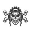 vintage monochrome skull in tankist helmet vector image vector image