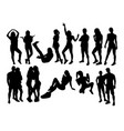 woman activity silhouettes vector image vector image