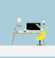 workplace with office supplies vector image