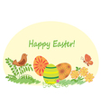 happy easter - nature with easter eggs vector image