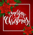 red christmas greeting card with rectangle frame vector image