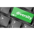 A computer keyboard with keys spelling diversity vector image vector image