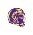 American Football Helmet Woodcut vector image vector image