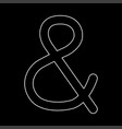ampersand white color path icon vector image vector image