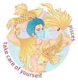 astrological sign pisces portrait in mask vector image vector image