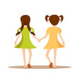 back view two cute little girls holding hands vector image vector image