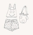 beach wear collection summet clothes sketch vector image vector image