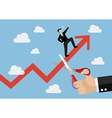 Big hand cutting growing graph of businessman vector image vector image