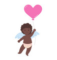black african happy cupid with heart balloon vector image vector image
