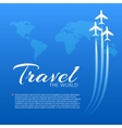 Blue background with white airplanes vector image vector image