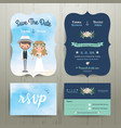 Bohemian cartoon couple on the beach wedding card vector image
