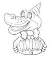 cartoon character a crocodile in a cap in a vector image vector image