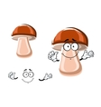 Cartoon fresh brown mushroom character vector image vector image