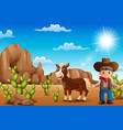 cartoon happy cowboy with horse in the desert vector image