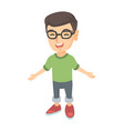 caucasian cheerful boy in glasses laughing vector image vector image