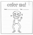 Coloring worksheet with a man vector image vector image