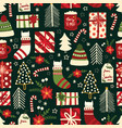 cute christmas seamless background with vector image