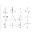 different types of plane icons vector image vector image