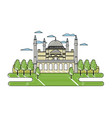 doodle taj mahal in india and beauty trees vector image