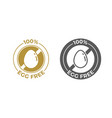 egg free food icon food package seal 100 percent vector image vector image