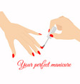 elegant woman hand doing vector image vector image