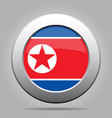 flag of north korea shiny metal gray round button vector image vector image