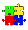 flat design square in for puzzle pieces icon vector image vector image