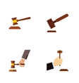 flat icon hammer set of hammer law crime and vector image vector image