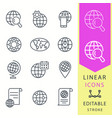 globe - line icon set editable stroke vector image vector image