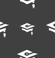 Graduation icon sign Seamless pattern on a gray vector image