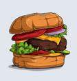 hand drawn big tasty and delicious hamburger vector image vector image