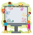 Happy children together draw on a large billboard vector image vector image