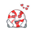 in love peppermint candy mascot cartoon vector image vector image