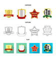 isolated object emblem and badge sign set vector image vector image