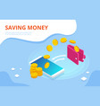 isometric cashback and saving money concept money vector image vector image