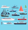 maritime ships flat water carriage vessels boats vector image