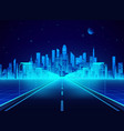 neon retro city landscape in blue colors highway vector image vector image